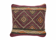 "Moroccan Cushion Vintage Kilim Stuffed  Wool  38 cm x 38 cm / 15"" x 15"" (VC318)"